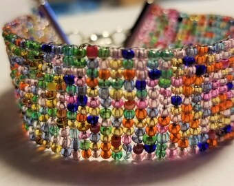 Hand Woven Beaded Bracelet - Cuff Multi-Colored Boho Style