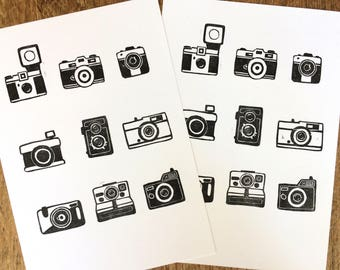 Vintage camera lino print