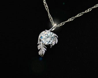 Sterling silver necklace with cubic zirconia pendant ladies necklace