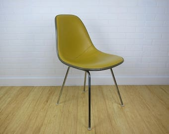 Eames Herman Miller Upholstered Naugahyde Side Chair Yellow