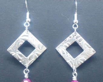Silver clay and semi-precious stone earrings