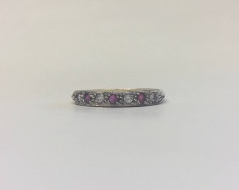 9ct Yellow Gold Half Eternity Ring With Ruby And Diamonds
