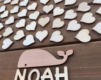 Baby shower Guestbook alternative - Whale - 60 wooden hearts