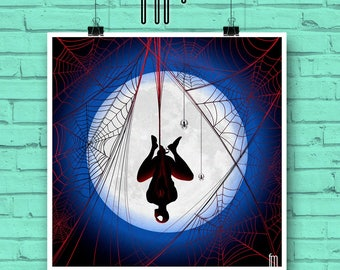 SPIDERMAN POSTER PRINT Heros by moonlight series: No.2 Spiderman, Web slinger, Silver age inspired Minimalist art/illustration