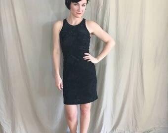 1990s Guess? Black Velour Mini Dress Size S