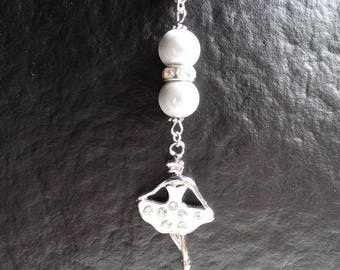 Pendant Necklace with the white dancer - woman or girl gift idea