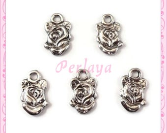 Set of 15 REF2427X3 silver rose charms
