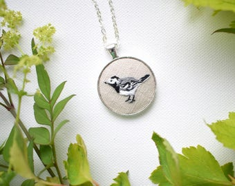 Hand Embroidered Bird Pendant, Pied Wagtail Bird Necklace, Hand Embroidered Pendant, Garden Bird Necklace, Wagtail, British Garden Birds