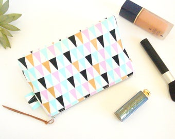 Geometric Makeup Bag, Triangles Cosmetic Bag, Toiletries Zipper Pouch, Makeup Zipper Pouch, Travel Organizer, Bridesmaid Gift, Gift for Mum,