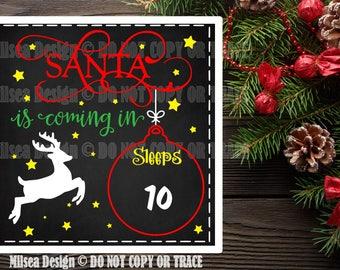 Santa Chalkboard, Christmas svg, Christmas Countdown, Cut File, SVG, DXF, Cricut cut file, Vinyl Cut Files, Silhouette, Christmas, Santa