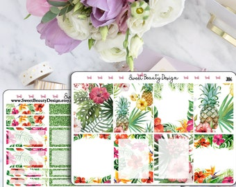 Tropical Planner Weekly Sticker Kit, Erin Condren Kit, Happy Planner Kit, Summer Time Planner Sticker Kit, Planner Accessories, Mini Kit