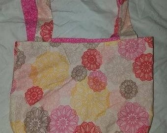 Pink Floral Reversible Tote Bag