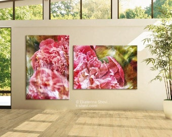 Wall Art Prints,Set of 2 Prints/ peonies, photography set, beautyflower, travel, collection,
