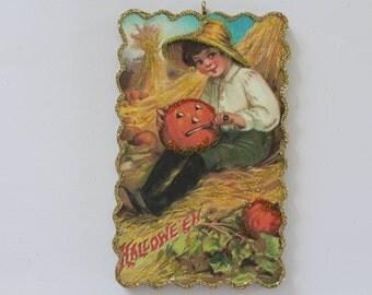 Boy Carving Pumpkin in Haystack * Halloween Ornament * Vintage Card Image * Glittered