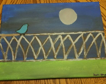 "Hand painted  ""Caged Bird Singing"" 12"" x 9"" canvas"