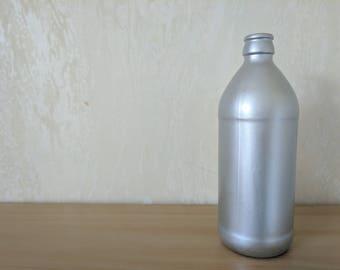 Milk Bottle Style Vase - Metallic Silver