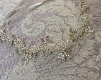 Bohemian Sliver Flower Halo Headpiece, Rhinestone Wedding Hair Piece, Crystal Circle Crown, Gatsby Flapper Headband, Wired Crystal Tiara