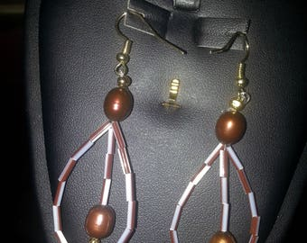 Copper Dipped Cultured Pearl Earrings with Glass Bugle Beads