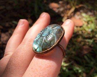 Reserved for Karen - Carved Labradorite Ring - Electroformed Copper