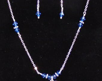 I love motorcycles charms with blue Swarovski crystal bicones necklace and earring set.