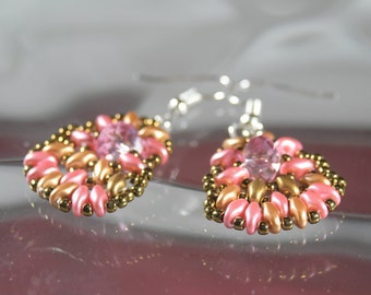 Pink and Bronze Earrings, Superduo bead weaving w/ Swarovski Crystal, Gifts for Her