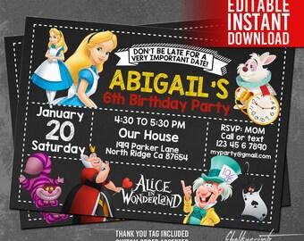Alice in Wonderland Invitation with Alice in Wonderland Thank You Tags Free, Alice in Wonderland Birthday, Editable PDF, Instant Download