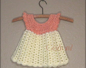 Newborn crochet dress, pinafore dress, infant dress, soft baby dress,  peach & cream little girl dress, dress size 0-3 month, Easter dress