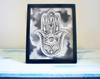 "Original Ink Painting, ""Hamsa"", Handmade Spiritual Artwork"