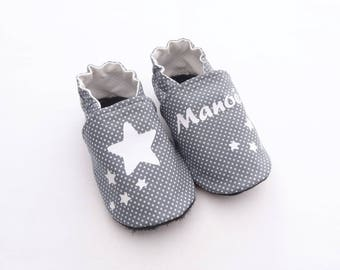 Baby booties customizable leather sole and cotton with stars personalized name of baby