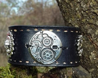 leather strap vegetable with steam punk gear