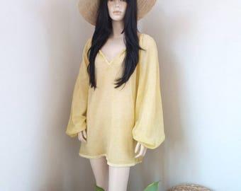 ALINE tunic - Cotton Voile - one size - Beach - Bohemian - Boho - Hippie - Ibiza - Gypsy - Beach dress - light yellow - Beachwear