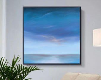 "Seascape, Original oil painting,original art,wall decor,minimalism,landscape, 20""x20"" ""Remembering"""