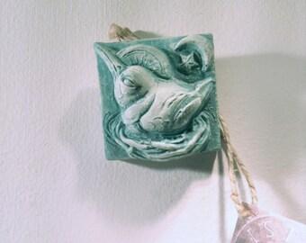 "Sister Hummingbird wall sculpture art tile, 2"" tiny sculpture tile, baby shower gift, backsplash, hummingbird, garden sculpture, bird tile"