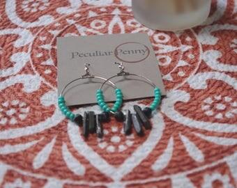 Turquoise and Black Boho Quartz Hoop Earrings Silver