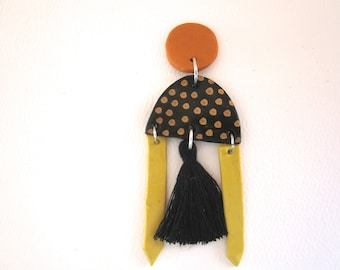 Bold Statement Earrings- spots and stripes- handmade clay dangle earrings with tassels