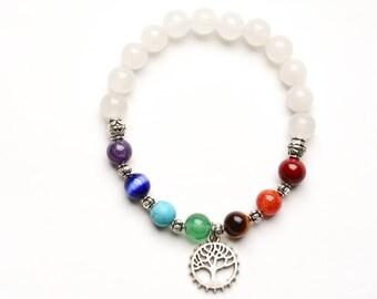 7 CHAKRA HEALING STONE Bracelet - 8mm Gemstone -Yoga -Tree of Life - Spiritual Jewelry