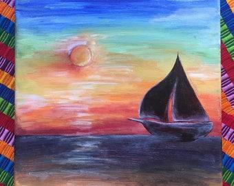 canvas; acrylic painting; sailboat; sunset