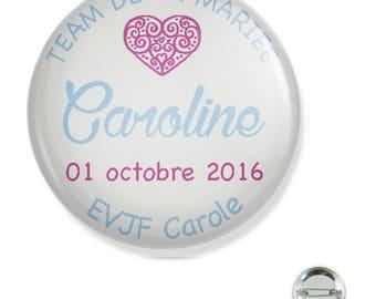Bachelorette party customizable 38MM badge / /Fuchsia blue heart