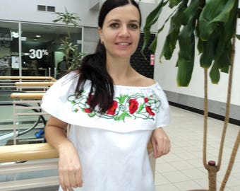 Vyshyvanka Ukrainian Embroidery Open shoulders top White beaded  blouse Embroidered top Beading Made in Ukraine Ethnic Ukrainian style