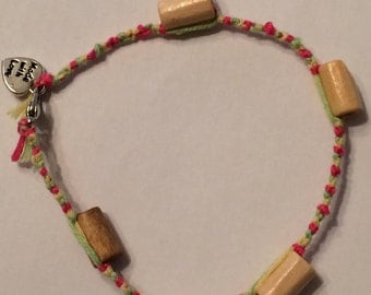 Green, Yellow, and Pink Friendship Anklet