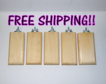 """Chinvilla Chinchilla 2.5"""" Natural Kiln Dried Pine Ledge Perch w/Rounded Edges - Bundle of 5 - FREE SHIPPING!"""