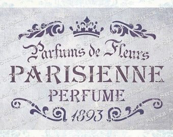 STENCIL Vintage French Script 'Parisienne Perfume', Furniture, Shabby Chic, Crafts, Reusable THICKER 250/10mil MYLAR by Stencil Stash