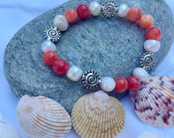 Pearl, Agate Stone and Silver Swirl Bracelets