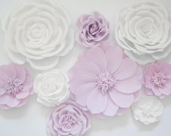 9 Crepe Paper Flowers, Baby Nursery Wall, Paper Flower Backdrop, Baby Shower, Big White Flower, Wedding Arch, Girl Room Decor, Wall Hanging