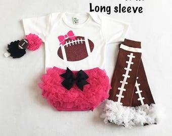 pink and black baby girl football outfit - baby girl football outfit - girl nfl outfit - football leg warmers - football headband - football
