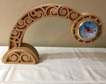 Clock, Bent clock, Decorative clock, Table clock, Mantle clock, Handmade