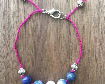 Gemstone Bracelet / Sodalite Bracelet / Howlite Bracelet / Lapis Lazuli Bracelet / Beaded Bracelet / Blue Bracelet / Yoga Bracelet / Layer