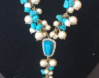 Stunning Turquoise and Pearls long Necklace
