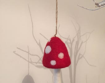 Hanging Red Toadstool Decoration; Needle Felted By Hand