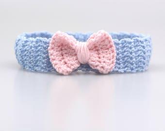 Blue Pink baby hair band girls headband, headbands Germany, newborn gift, baby photo, baptism, spring, autumn